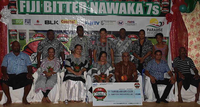 Paradise Beverages Fiji general manager sales/corporate affairs Joe Rodan Snr with staff and executives of Nawaka Rugby Club during the launch at Nawaka village in Nadi on February 20, 2019. Photo: Waisea Nasokia