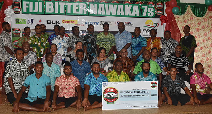 Paradise Beverages Fiji general manager sales/ corporate affairs Joe Rodan Snr with youths during the launch at Nawaka village in Nadi on February 20, 2019.  Photo: Waisea Nasokia