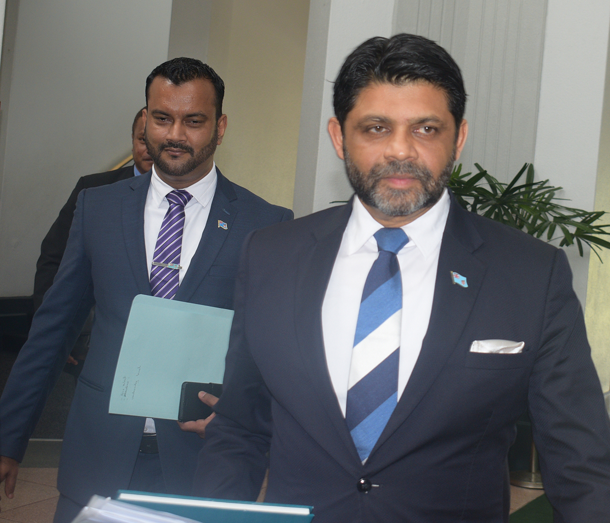 Attorney-General and Minister for Economy, Civil Service and Communications Aiyaz Sayed Khaiyum with the Assistant Minister for Employment, Productivity and Industrial Relations and Youth and Sports Alvick Maharaj on February 11,2019.Photo:Simione Haravanua.