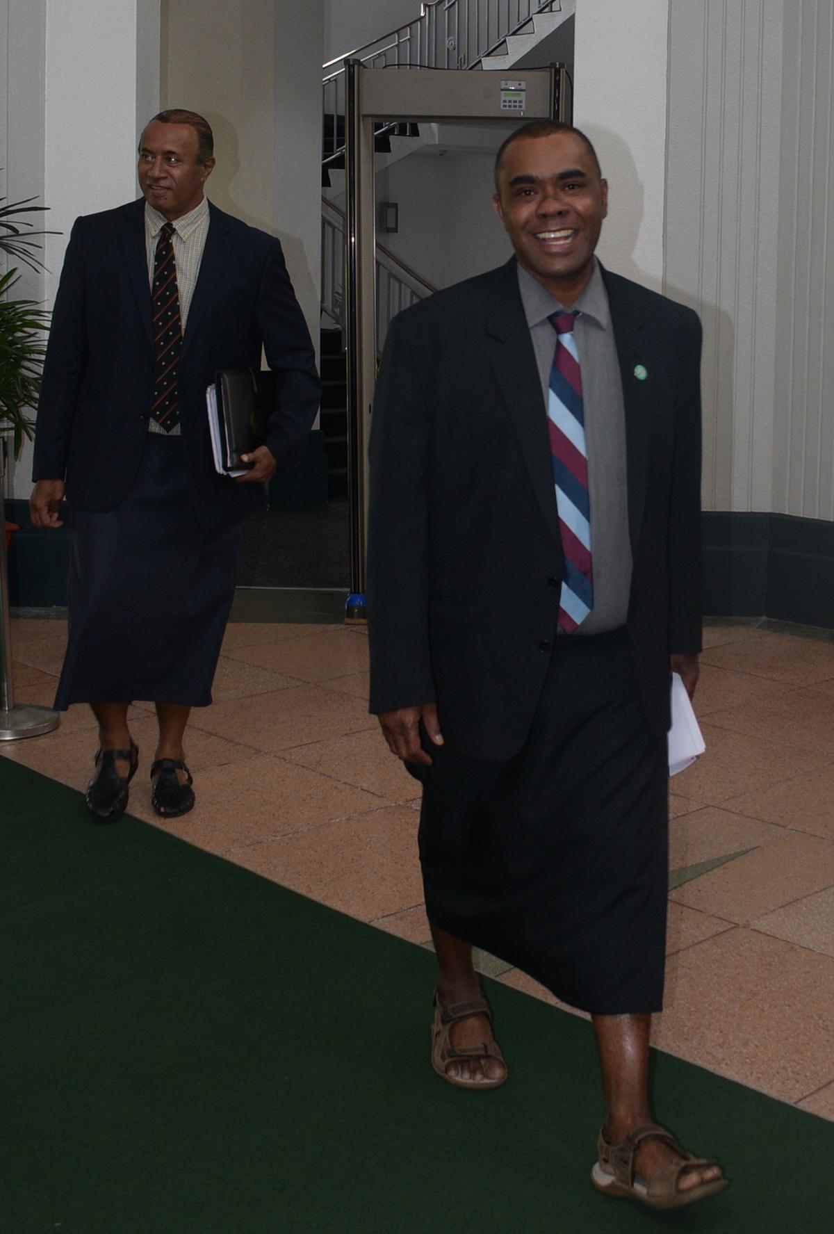 Member of opposition Mosese Bulitavu with Ro Filipe Tuisawau outside the parliament house on February 11,2019.Photo:Simione Haravanua.