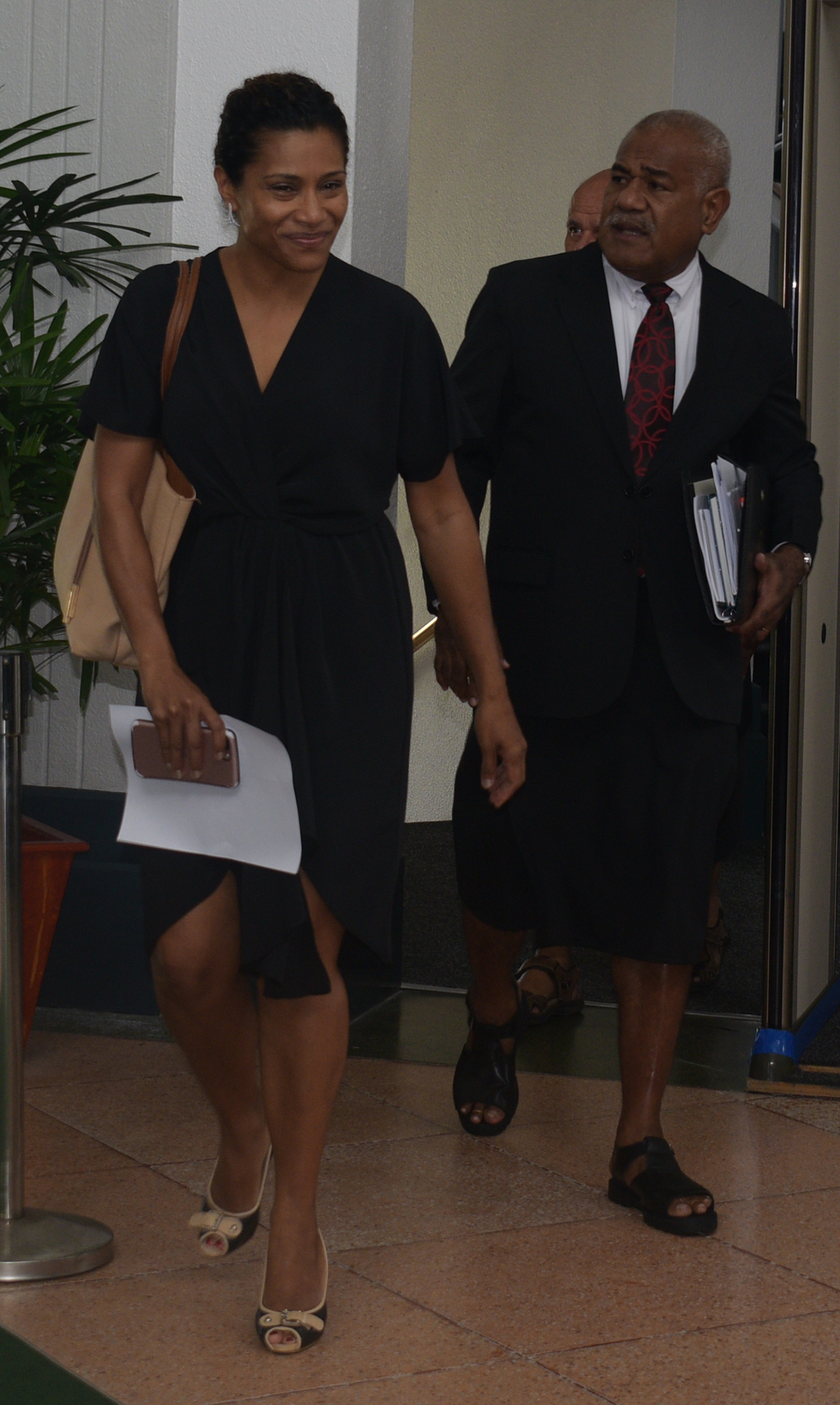 Opposition Whip Lynda Tabuya with Simione Rasova outside the parliament house on February 11,2019.Photo:Simione Haravanua.