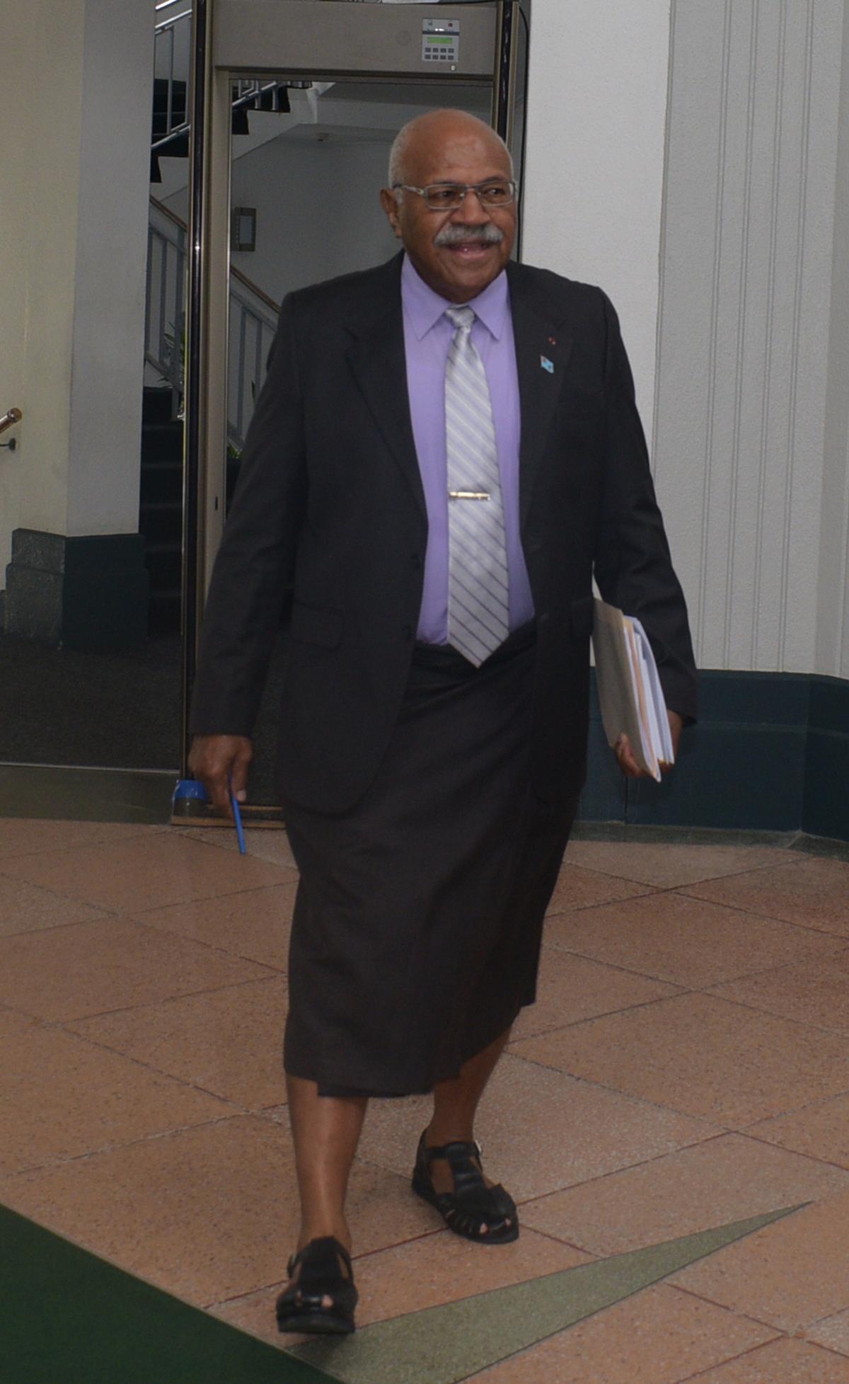 Opposition leader Sitiveni Rabuka outside the parliament house on February 11,2019.Photo:Simione Haravanua.
