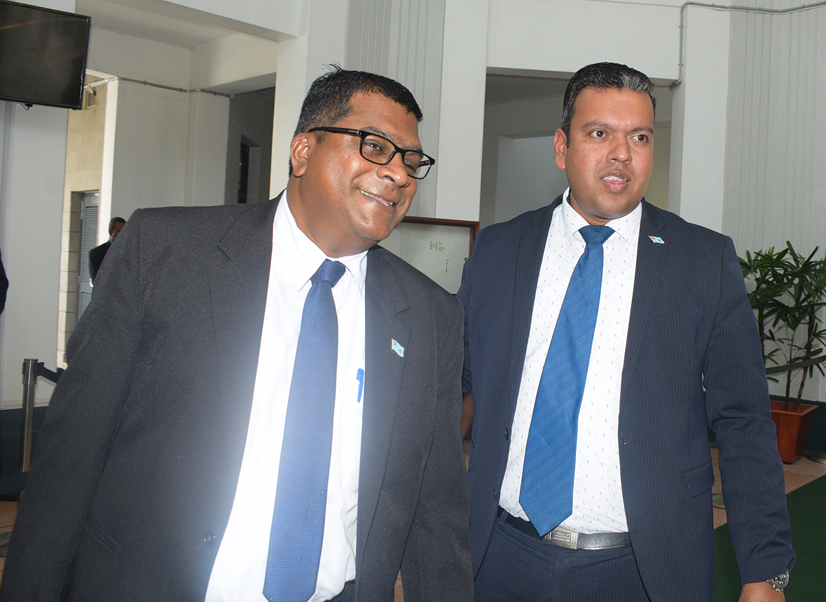 Minister for Agriculture, Rural and Maritime Development, Waterways and Environment Mahendra Reddy with the Minister for Lands and Miniral Resources Ashneel Sudhakar at parliament on February 11,2019.Photo:Simione Haravanua.