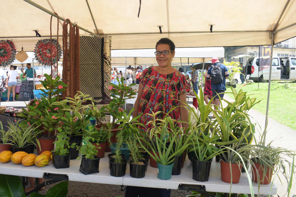 Geac Kiki at her flower stall during the Roc Market in Suva on February 17,2019.Photo:Simione Haravanua.