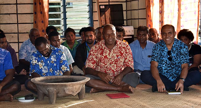 Nakoro villager, Jovili Lewamosa (middle) during discussions with the Minister for Agriculture Mahendra Reddy. Photo: Nicolette Chambers