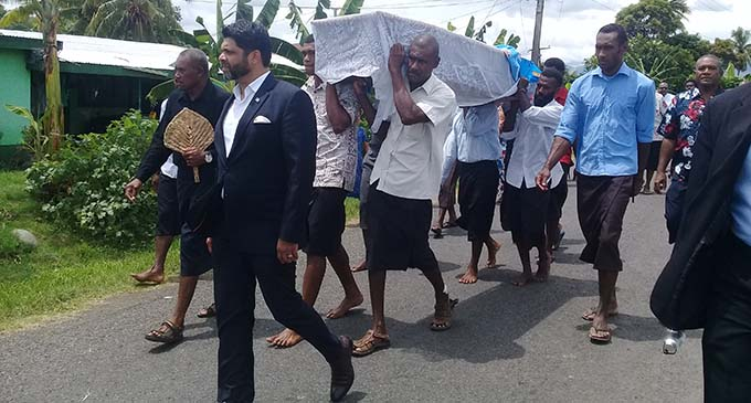 Aiyaz Sayed-Khaiyum (front left) leading the coffin of the late Inoke Dramai who was a FijiFirst party volunteer in the West in Korovou, Tavua on February 28, 2019. Photo: Rohit Kumar