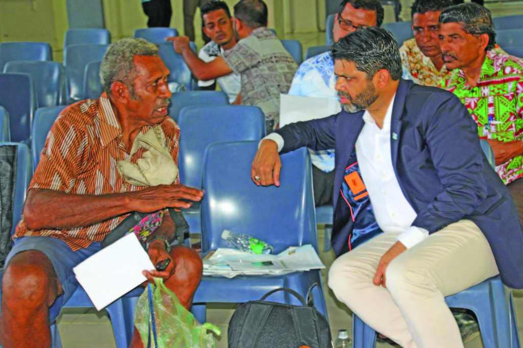 Attorney-General and Minister for Economy Aiyaz Sayed-Khaiyum listening to one of the participants during the first public in-person national budget consultation at the Labasa Civic Centre on March 2, 2019. Photo: DEPTFO News