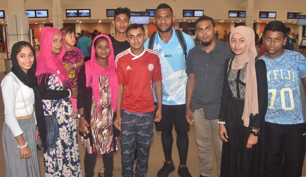 Fiji Airways 7s rep Vilimoni Botitu at the Nadi International Airport yesterday. Photo: WAISEA NASOKIA