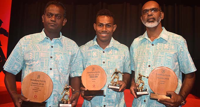From left; Lautoka coach  Kamal Swamy, Kavaia Rawaqa and Abdul Kadar with their awards at the Sofitel Fiji Resort on March 2,2019.  Photo: Waisea Nasokia
