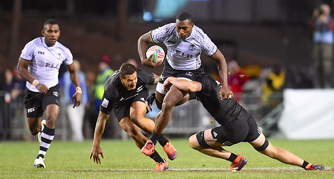 Fiji Airways Fijian 7s forward Mesulame Kunavula takes on the New Zealand defence where he lost the ball in the turnover and ended our Cup campaign at the USA 7s in Las Vegas on March 2, 2019.  Photo: Ian Muir