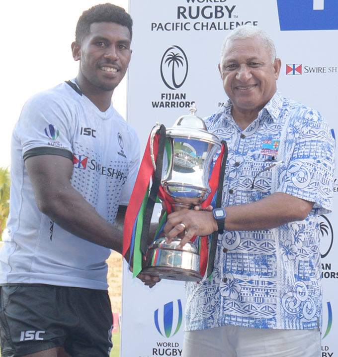 Swire Shipping Fijian Warriors captain and halfback Frank Lomani after his try against Samoa A at the ANZ Stadium in Suva on March 16, 2019. Photo: Ronald Kumar