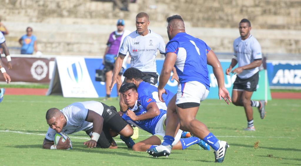 John Dyer of Fiji Warriors fall meter shot of Samoa try line at ANZ Stadium ion March 16, 2019. Photo: Ronald Kumar.