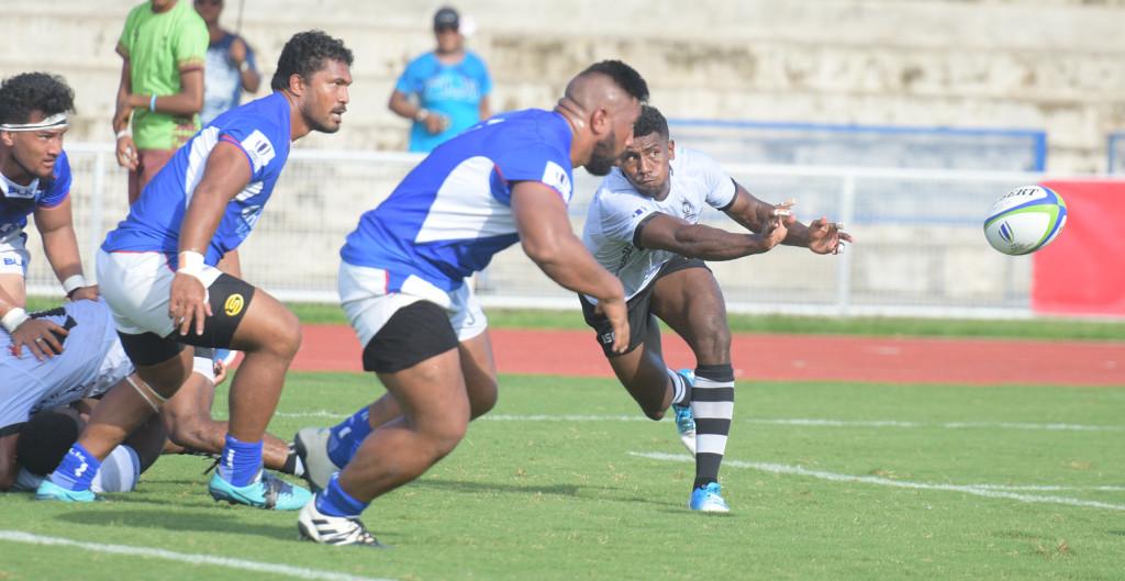 Fiji Warriors captain clears the ball against Samoa at ANZ Stadium ion March 16, 2019. Photo: Ronald Kumar.