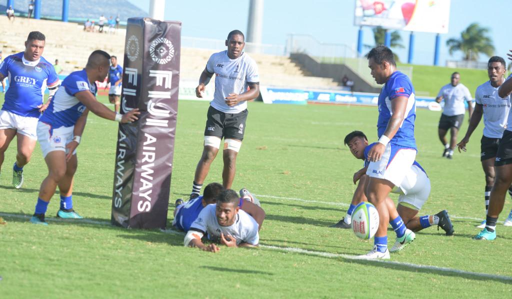 Tuidraki Samusamuvore of Fiji Warriors with their second try against Samoa at ANZ Stadium ion March 16, 2019. Photo: Ronald Kumar.