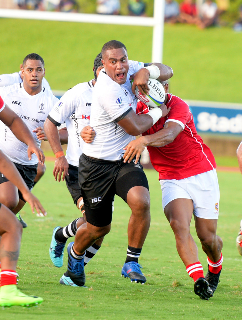 Fijian Warriors John Dyer drive his way to try line against Tonga during 2019 World Rugby Pacific Challenge at ANZ Stadium on March 8, 2019. Photo: Ronald Kumar.