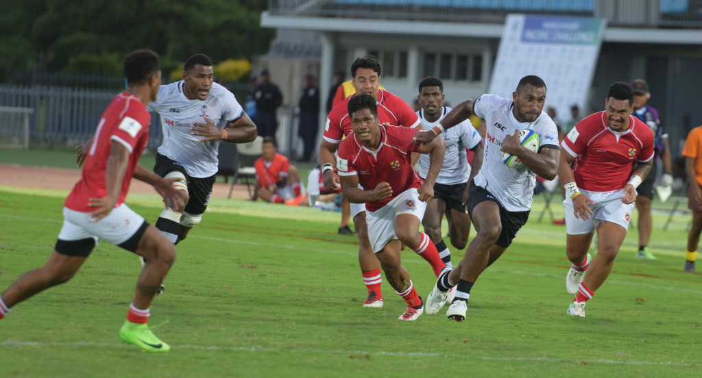 Fijian Warriors Tira Patterson sprints to try line against Tonga during 2019 World Rugby Pacific Challenge at ANZ Stadium on March 8, 2019. Photo: Ronald Kumar.