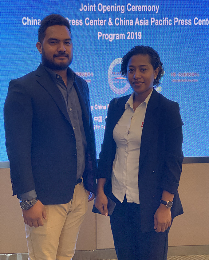 Fiji Sun senior journalist Fonua Talei (right) with Tongan journalist Metuisela Pohiva at the opening ceremony of the China Public Diplomacy Association 2019 programme
