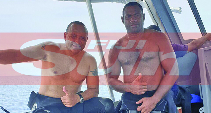 Police Commissioner Brigadier-General Sitiveni Qiliho (left), with Constable Tuisese during their recent operation to search for a possible drug haul. Photo: Fiji Police Media Cell