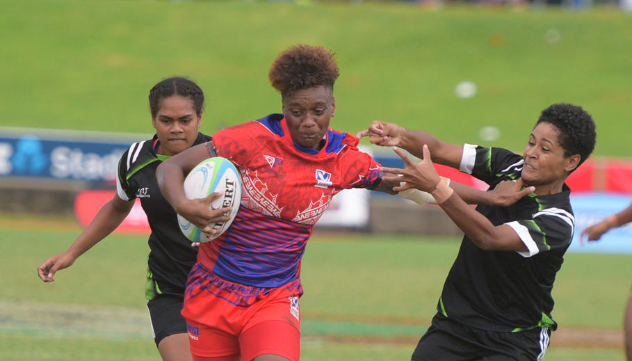 Merewalesi Rokovono of Marist Seahawks push off Hope defender during 43rd Fiji Bitter Marist 7s at ANZ Stadium on March 22, 2019. Photo: Ronald Kumar.