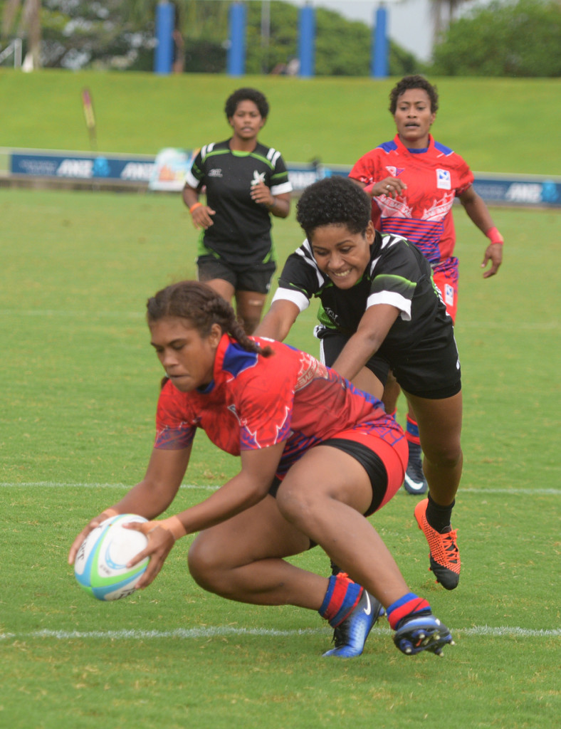 Jiowana Sauto of Marist Seahawks with their first try against Hope during 43rd Fiji Bitter Marist 7s at ANZ Stadium on March 22, 2019. Photo: Ronald Kumar.