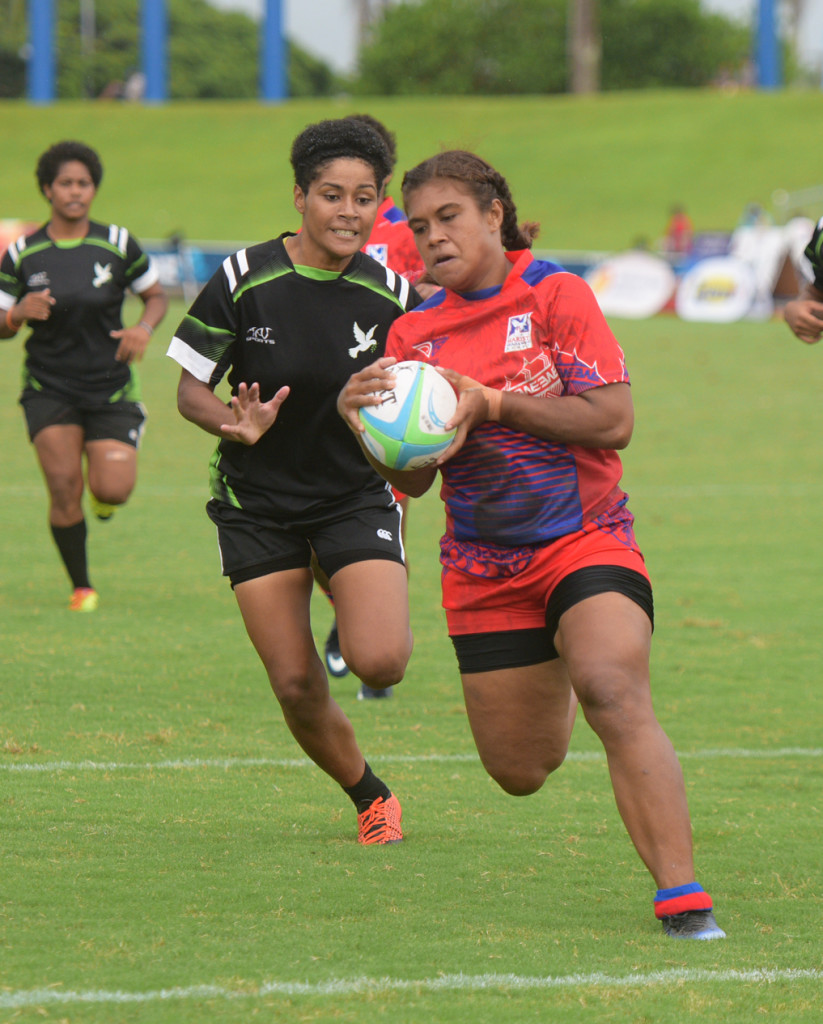 Jiowana Sauto of Marist Seahawks race to try line against Hope during 43rd Fiji Bitter Marist 7s at ANZ Stadium on March 22, 2019. Photo: Ronald Kumar.