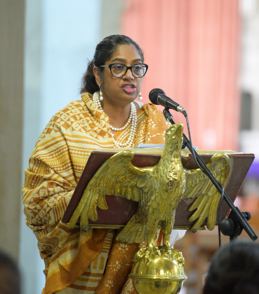 Dr. Chitralekha Massey of UNOCHR while speaking at Vigil for victims of Christchurch terror attacks and for a pacific without discrimination at Holy Trinity Anglican Cathedral in Suva on March 19, 2019. Photo: Ronald Kumar.