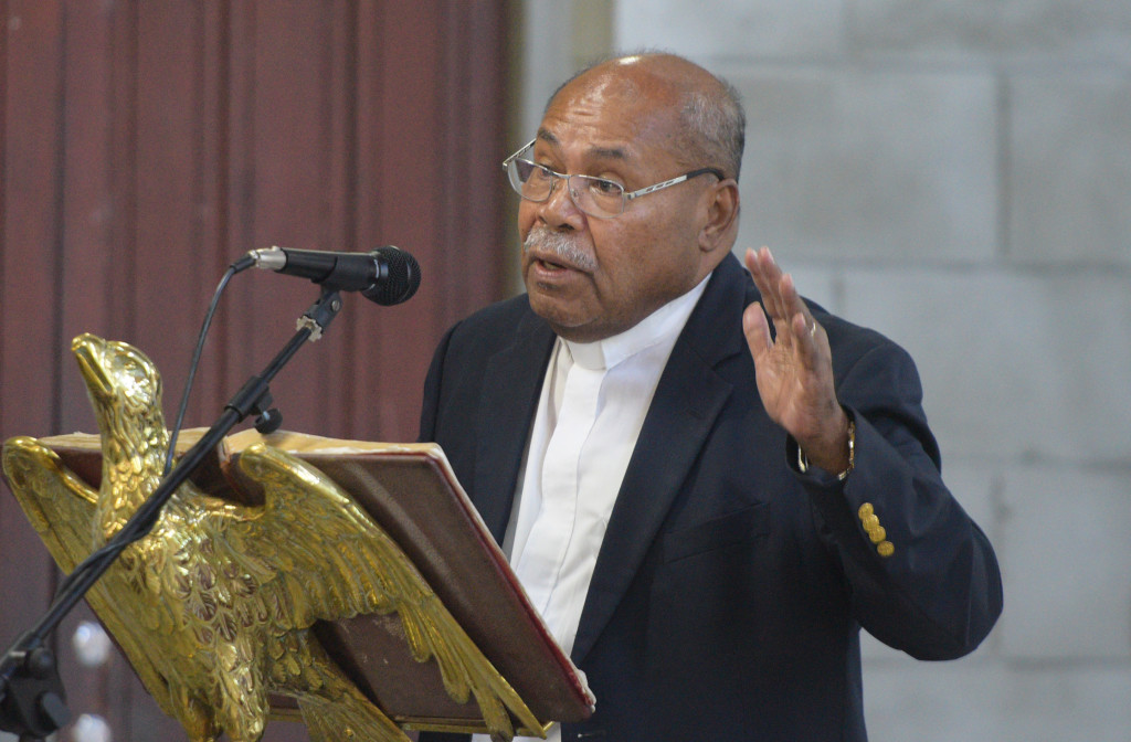 Rev. Tevita Banivanua , President Fiji Council of Churches while speaking at Vigil for victims of CHristchurch terror attacks and for a pacific without discrimination at Holy Trinity Anglican Cathedral in Suva on March 19, 2019. Photo: Ronald Kumar.
