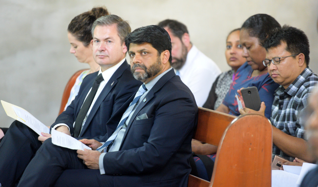 Acting Prime Minister and Attorney General Aiyaz Sayed-Khaiyum (right) with New Zealand High Commissioner to Fiji Jonathan Curr during Vigil for victims of Christchurch terror attacks and for a pacific without discrimination at Holy Trinity Anglican Cathedral in Suva on March 19, 2019. Photo: Ronald Kumar.