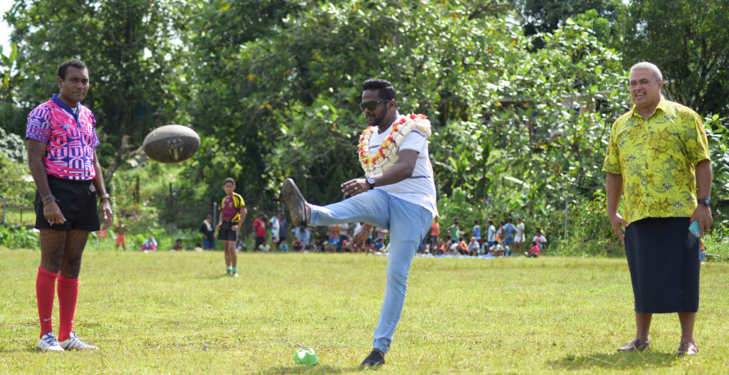 Ram Sami and Sons Business Development Manager Anup Mudiliar kicks starts the Ram Sami Nasinu kaji rugby at AOG ground in Kinoya on March 30, 2019. Photo: Ronald Kumar.