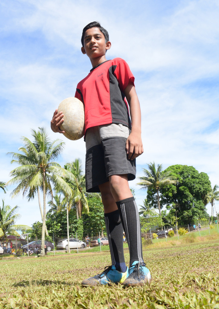 MGM under 13 rugby centre, Tanish Singh during Ram Sami Nasinu kaji rugby at AOG ground in Kinoya on March 30, 2019. Photo: Ronald Kumar.