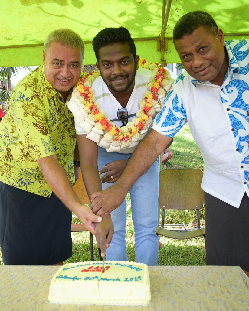 Nasinu Gospel Head Teacher (from left) Sekove Daveta, Ram Sami and Sons business development manager Anup Mudiliar with CMF Head Teacher Neori Cama cat the cake to mark the Ram Sami Nasinu kaji rugby at AOG ground in Kinoya on March 30, 2019. Photo: Ronald Kumar.