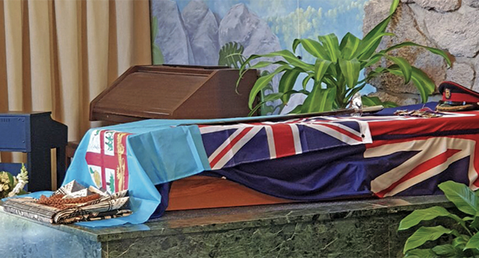 The casket of the late Brigadier-General (Ret'd) Ian Thorpe draped with the Fijian and New Zealand flags, signifying that these were the countries he served. Photo: RFMF Media Cell