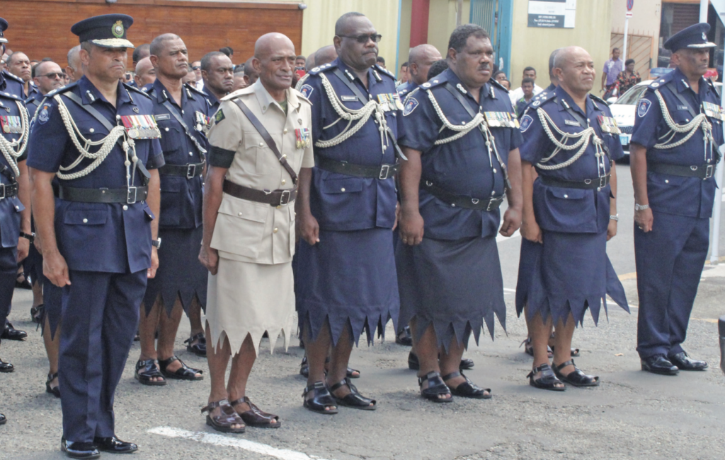 Police Commissioner Brigadier-General Sitiveni Qiliho (left), with senior officers at the funeral service of the late SP Hemadh Kumar outside the Sacred Heart Cathedral Suva on March 2, 2019. Photo: Simione Haravanua