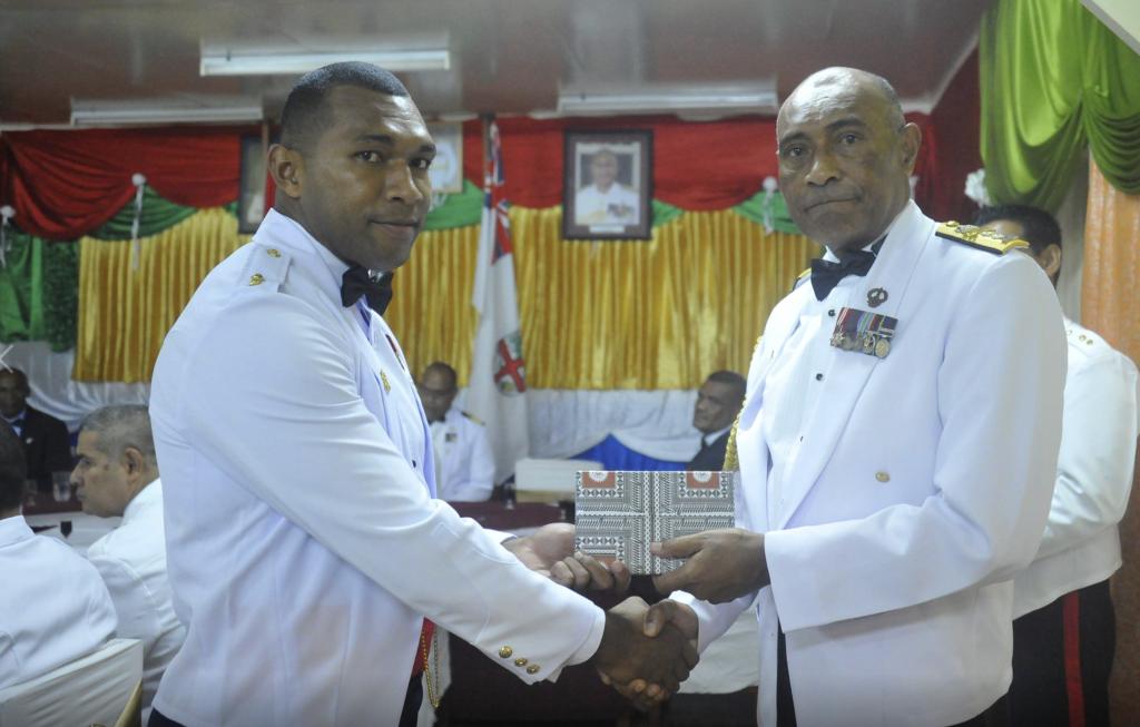 Lieutenant Jijiua Vakaloloma with the Commander RFMF, Rear Admiral Viliame Naupoto.