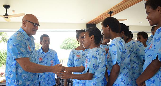 President Major General (Ret'd) Jioji Konrote meeting Team Fiji athletes after the i-tatau presentation at the State House, Suva on February 28, 2019. Photo: Ronald Kumar.