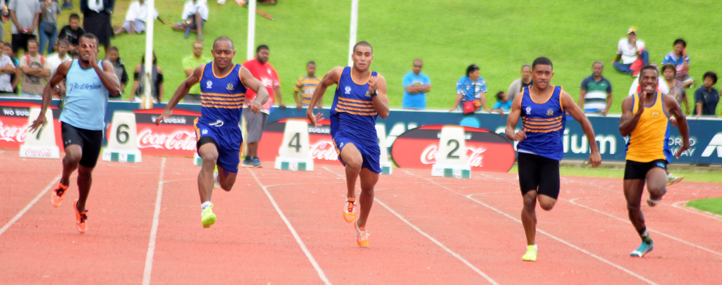 Kolinio Redrudru of RKS (fourth from left) won the 100meters senior boys final during Tailevu Zone at ANZ Stadium on March 28, 2019. Photo: Ronald Kumar.