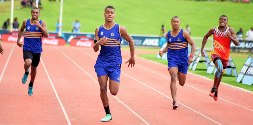 Richard Elder (second from left) of RKS won the 400 meters inter-boys final during Tailevu Zone at ANZ Stadium on March 28, 2019. Photo: Ronald Kumar.