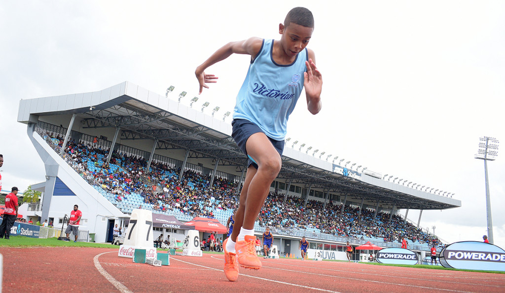 Steven Rabici of QVS during Tailevu Zone sub-junior boys 400meters final at ANZ Stadium on March 28, 2019. Photo: Ronald Kumar.