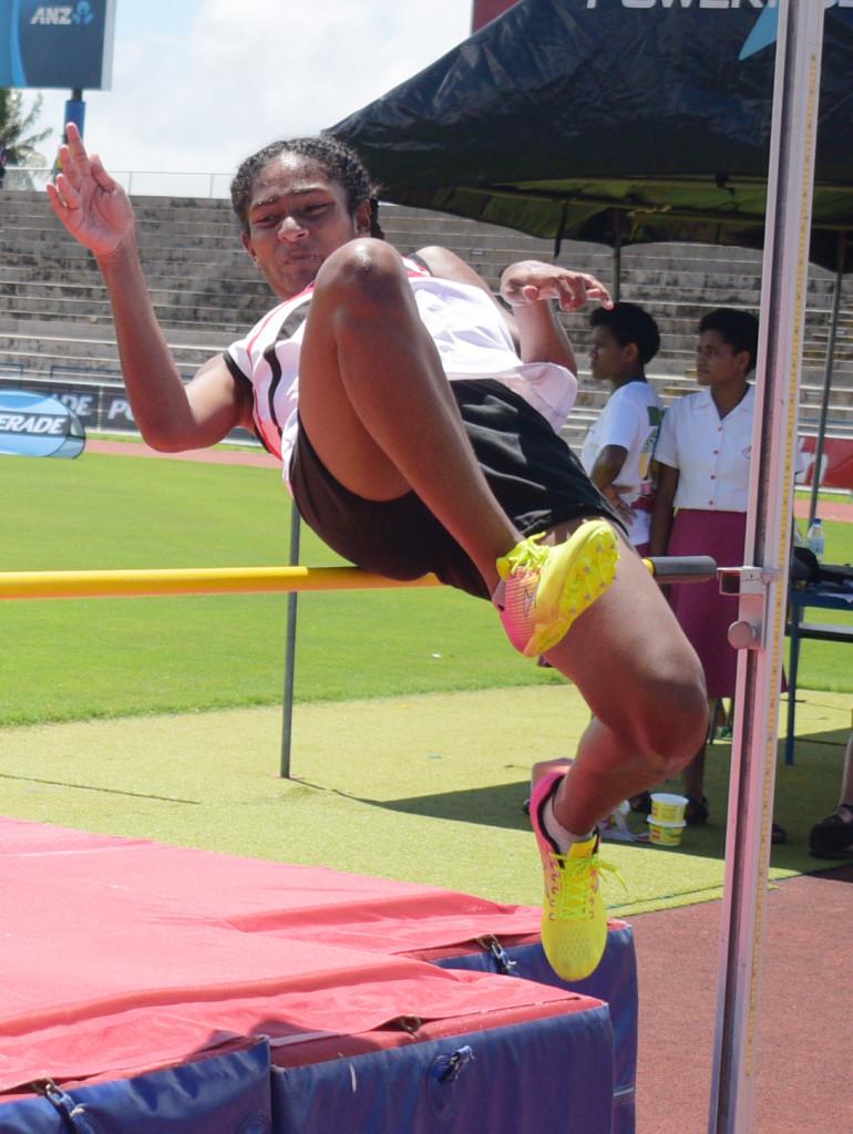 Lute Vananalagi of Adi Cakobau School during Triple N zone sub-junior girls high jump at ANZ Stadium on March 15, 2019. Photo: Ronald Kumar.