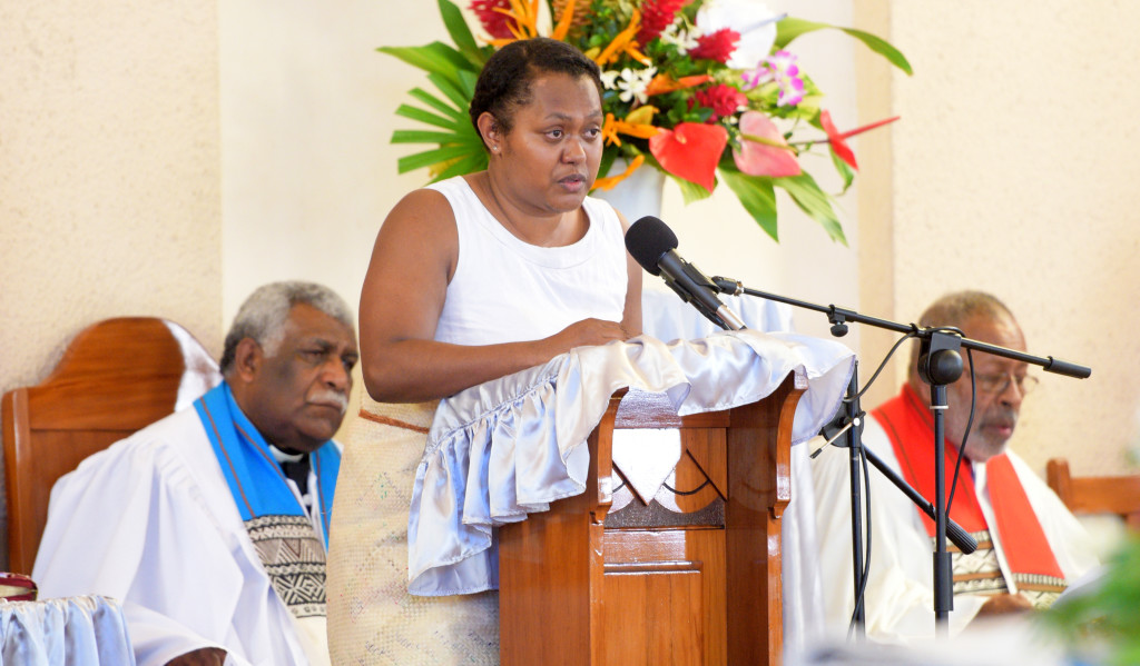 Alisi Waqainabete while speaking her her father and Methodist Church of Fiji Deputy General Secretary Rev. Seremaia Waqainabete at Centenary Church on March 29, 2019. Photo: Ronald Kumar.