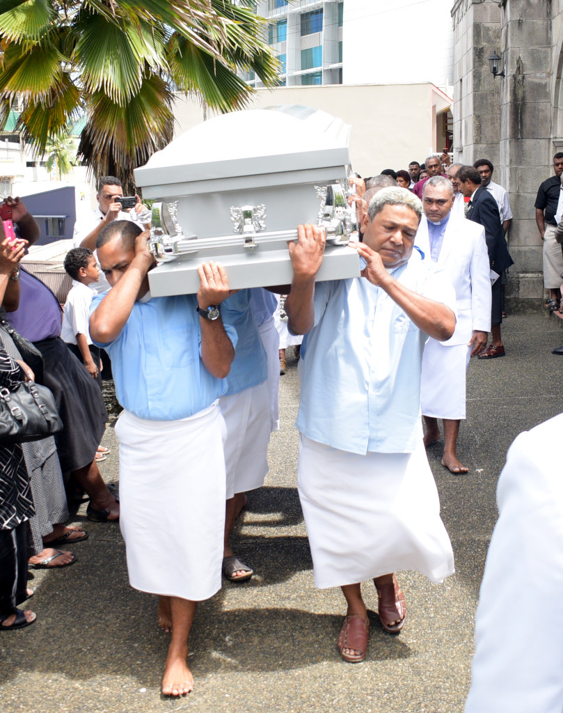 Pallbearers carry the casket of Methodist Church of Fiji Deputy General Secretary Rev. Seremaia Waqainabete during the funeral service at Centenary Church on March 29, 2019. Photo: Ronald Kumar.
