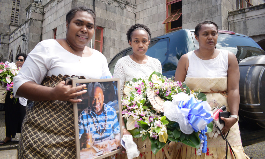The thrtee daughter's of late Methodist Church of Fiji Deputy General Secretary Rev. Seremaia Waqainabete (from left) Peupola Waqainabete, Tanya Waqainabete and Alisi Waqainabete during the funeral service at Centenary Church on March 29, 2019. Photo: Ronald Kumar.