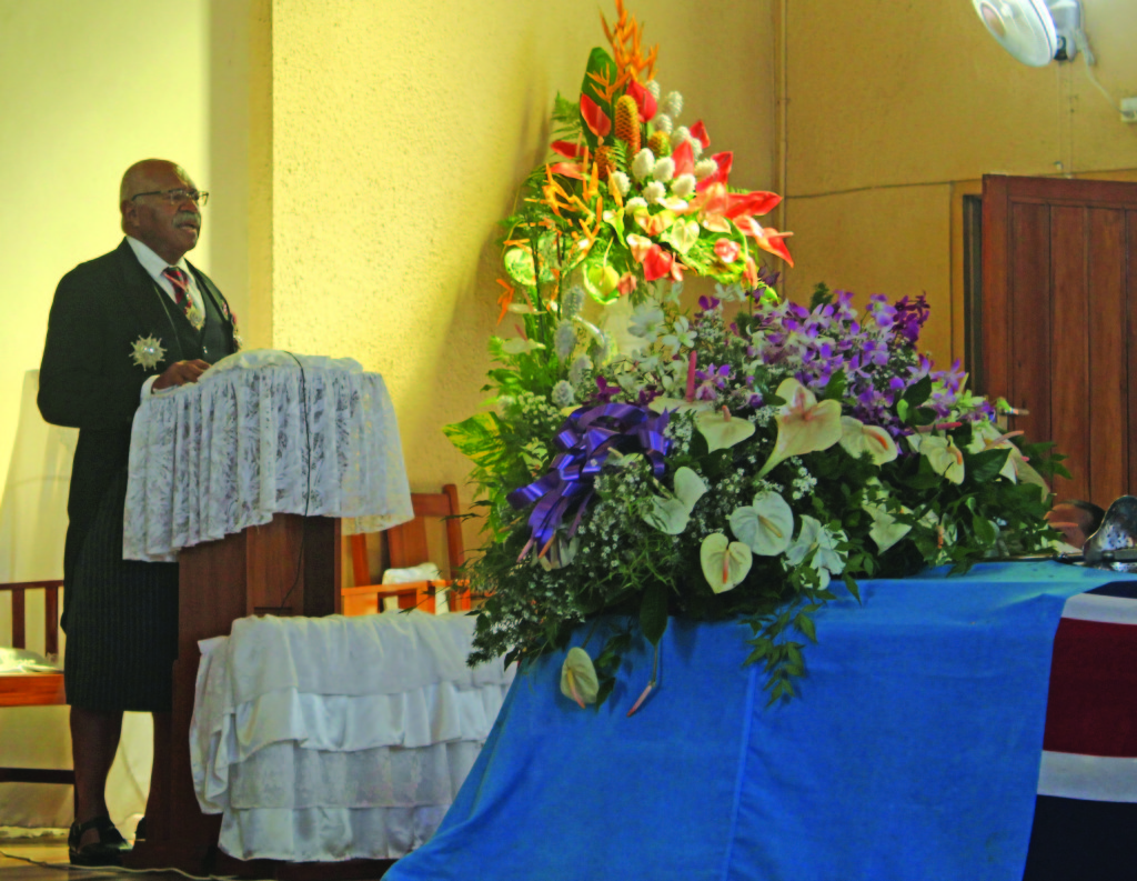Opposition leader Sitiveni Rabuka giving his eulogy during the funeral of the late Colonel (Ret'd) Ilaisa Kacisolomone at the Centenary Methodist Church in Suva on March 2, 2019. Photo: Simione Haravanua