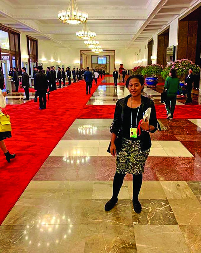 Fiji Sun senior journalist Fonua Talei after the press conference at the Great Hall of the  People in Beijing, China on March 2, 2019