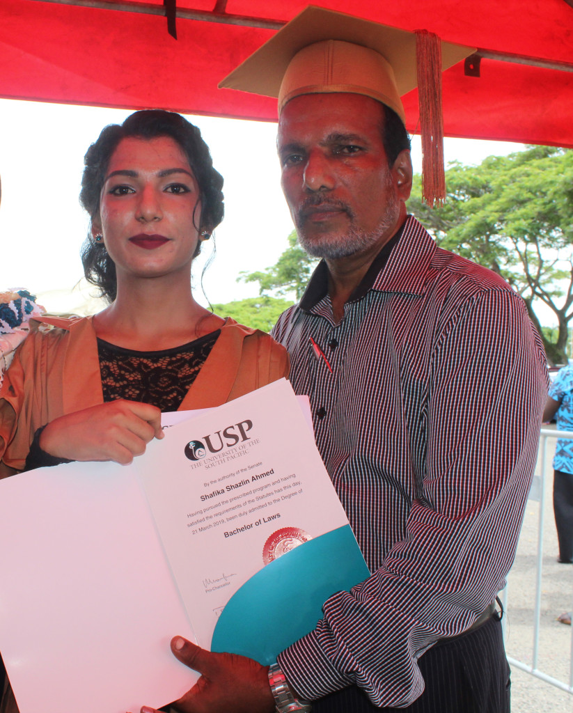 Graduate Shafika Ahmed with proud father Mohammed Rafiq after the USP graduation on March 21,2019.Photo:Simione Haravanua.