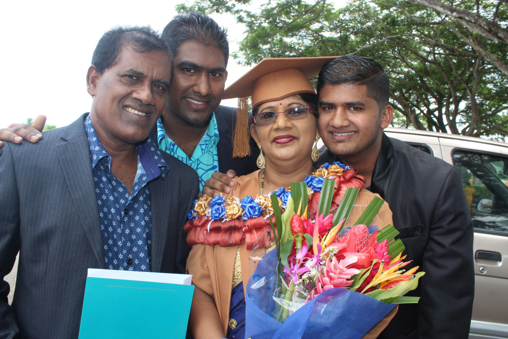 From left Satendra Prasad (husband),Kushneel Prakash,graduate Arun Lata with Ronil Prakash after the USP graduation on March 21,2019.Photo:Simione Haravanua.