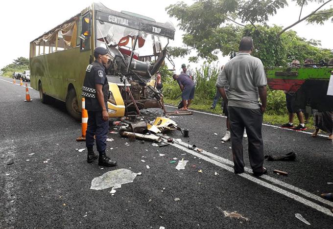 The scene after the crash at Nakeba Stretch, Taveuni.