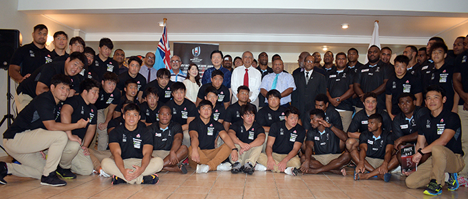 Japan Ambassador to Fiji Masahiro Omura, Speaker of the House Ratu Epeli Nailatikau, Defence Minister Inia Seruiratu, Minister for Infrastructure and Transport Jone Usamate (standing in the middle) with representatives from the Paralympics team, Junior Japan and Swire Shipping Fijian Warriors rugby players during the reception at Tamavua, Suva on March 13, 2019. Photo: Ronald Kumar