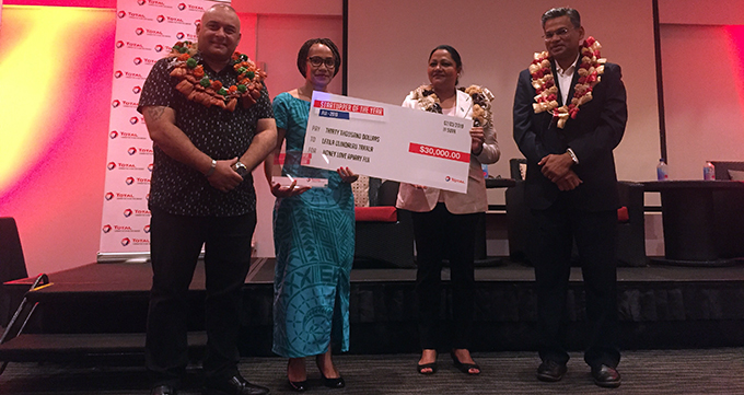 Letila Uluiqalau Takala with guests at the awards presentation.