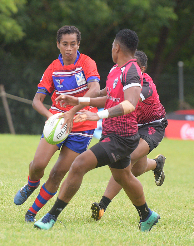 Womens 7s rugby action between Marist Seahawks and Striders during 43rd Fiji Bitter Marist 7's at ANZ Stadium on March 22, 2019. Photo: Ronald Kumar.